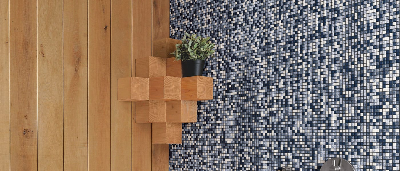 mosaic tiles in denim