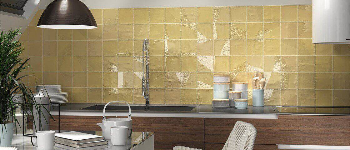 delight drop ocre tiles for kitchen